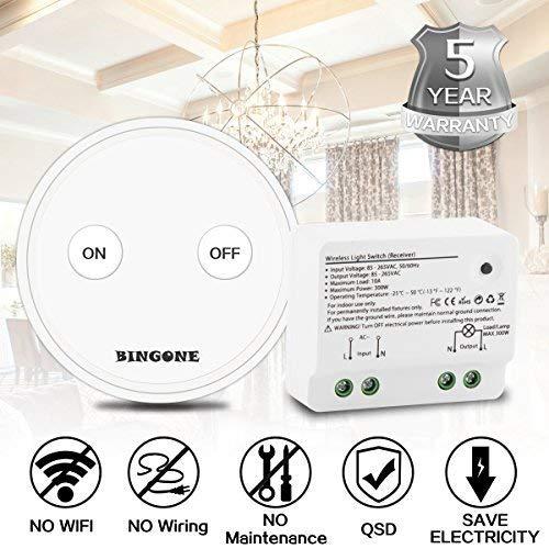 funkschalter fuer licht BINGONE Funkschalter Set Lichtschalter für LED-Licht,Tragbare oder Wand montierte schnurlose Fernbedienung EIN / AUS für Haushaltsgeräte, Transmitter + Empfänger (Weiß)