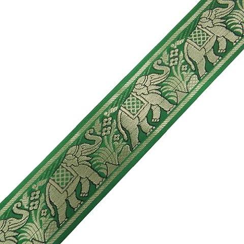 Jacquard-Band-grüne Ordnung Tiermuster Sari Border Indian-Spitze-Klebeband von der Werft