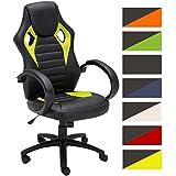 CLP Silla de oficina SPEED, altura del asiento ajustable 49 - 59 cm con tapzado de cuero sintético, 5 ruedas y mecanismo de balanceo. verde