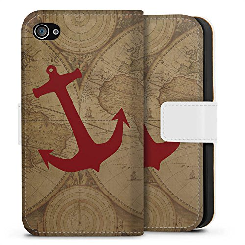 Apple iPhone 6s Hülle Premium Case Cover Anker Maritim Sommer Weltkarte Sideflip Tasche weiß