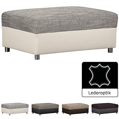 CAVADORE Hocker Caaro im Materialmix mit Kunstleder / Bequemer Sitzhocker im modernen Design / 96 x 66 x 42 / Grau-Weiß - Birke Wohnzimmer Sofa