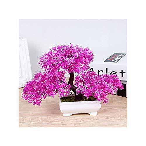XPKZYSLJ Pflanzen Künstlich Blumen Gras Kunstpflanze Bonsai Mini mit Topf Klein Kreative Simulation Wolke Kiefer Topfpflanze Ideal für Tischdeko Haus Balkon Büro usw,Rosa