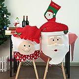 Gaddrt Stuhlbezug Hocker eingestellt 2 Stücke Weihnachten Weihnachtsmann Hut Stuhlabdeckung Dinner Decor Party 50x46 cm