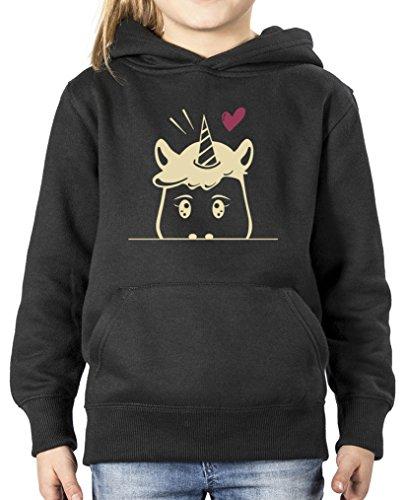 Comedy Shirts - Luscherndes Einhorn - Mädchen Hoodie - Schwarz / Beige-Fuchsia Gr. 134/146 (Australien Hoodie)