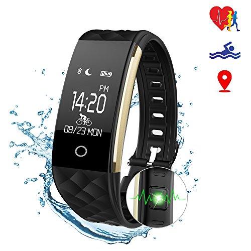 Smart Fitness Tracker Watch – SMOX S2 (2018 nuevo diseño) IPX67 impermeable rastreador de actividad, contador de calorías de pasos, rastreador de sueño, modo de bicicleta, recordatorio de llamadas/SMS, monitor de ritmo cardíaco Fitness Trackers para mujeres hombres niños (negro)