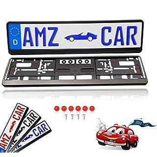 AMZ CAR - 2 Stück Set (vorne und hinten) - Kennzeichenhalter Auto - Made in Germany - Mit Schrauben und 12 vormontierten Gummipuffer für Lack und Vibrationsschutz. Nummernschildhalter TOP-Qualität.