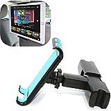 Coscod appuie-tête Siège arrière Tablette/téléphone portable support de voiture [une main], rotatif à 360° réglable tenant Clamp Cradle bébé enfants de voiture Siège arrière support de fixation pour iPad, iPhone–Bleu