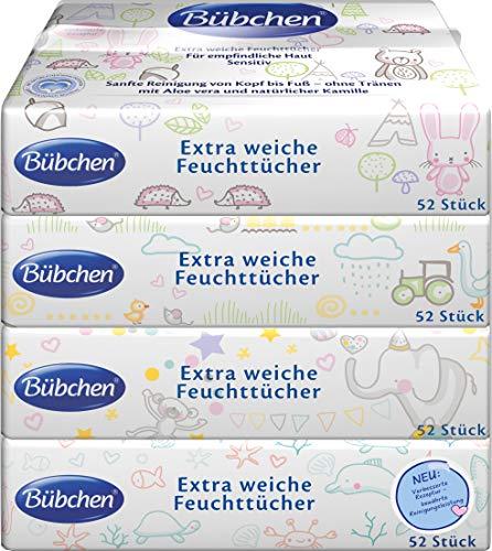 Bübchen Feuchttücher Sensitive, Baby-Pflegetücher, besonders sanft und extra weich, feuchte Tücher auch für Gesicht und Hände, Menge: 3 x (4 x 52 Stk.)