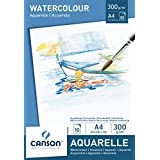 Canson 200005789 Blocco Acquerello (A4, 21 x 29.7 cm, 300 gsm), Colore Bianco