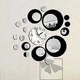 Kicode Negro y plata Diseño moderno Etiqueta engomada desprendible de la pared del espejo del reloj...