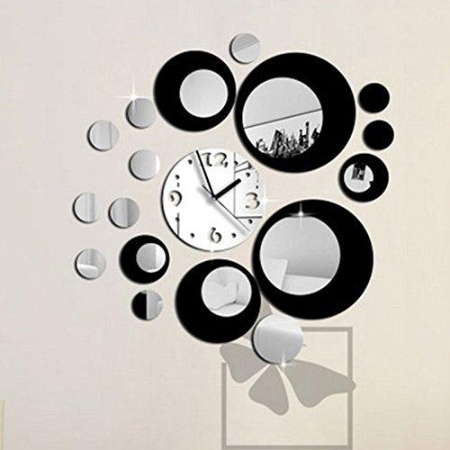 kicode nero e argento design moderno adesivo smontabile della parete dello specchio dell'orologio di arte del fai da te home decor