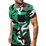Herren Shirt, Sommer Camouflage Drucken Tee Kurzarm T-Shirt Sweatshirt Tanktop (XXL, Grün)