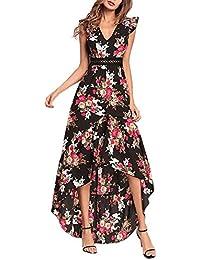 a5d832d272b ishine Sommerkleid Damen V-Ausschnitt Maxikleid Strandkleid Lang Boho Kleid  Abendkleid Partykleid