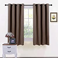 S-D Super Soft Blackout Curtains, Thermal Insulated Curtains for Bedroom Living Room 1 Pair (Marrón)