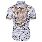 UFACE Herren Kurzarm Ethnic Print Shirt Top African Print Pullover Kurzarm T-Shirt Top Bluse (2XL, Weiß)