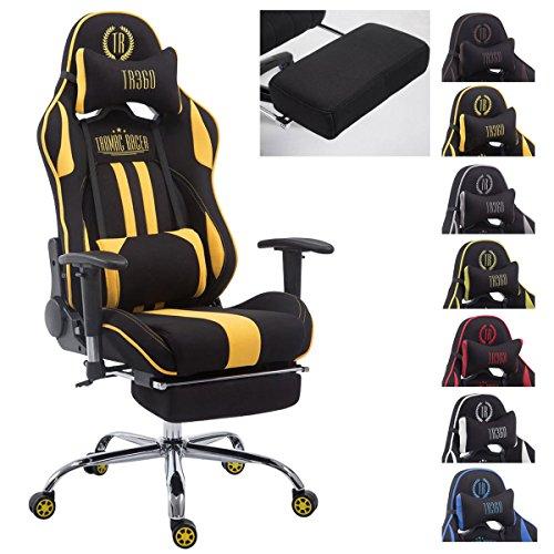 CLP Racing Bürostuhl Limit V2 mit Stoffbezug I Gamingstuhl mit Metallgestell I Schreibtischstuhl mit Laufrollen I erhältlich schwarz/gelb, mit Fußstütze
