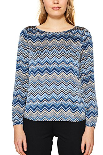 ESPRIT Collection Damen Bluse 117EO1F001, Blau (Bright Blue 410), 40 (Seidige Langarm-bluse)