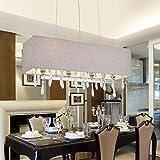 Kristall-Pendelleuchte Kronleuchter E14*4, Modern Pendelleuchte aus Kristall Glas und Stoff Lampenschirm, Lampe elegante Design Pendellampe für Schlafzimmer-Wohnzimmer-Esszimmer