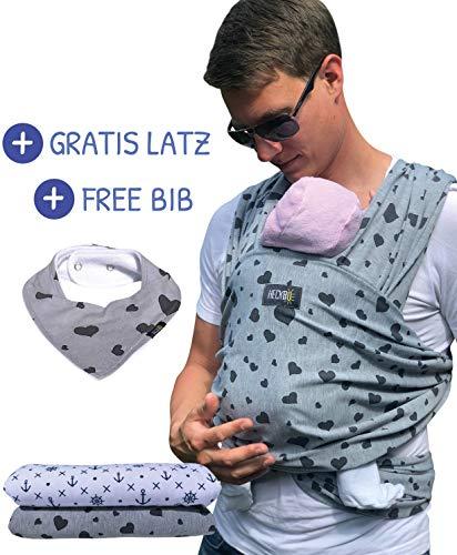 HECKBO® Babytragetuch grau mit schwarzen Herzen - inkl. GRATIS Baby-Lätzchen & Tasche - extra groß: 520 x 60 cm - hochwertiges & elastisches Baby Tragetuch Wickeltuch für Neugeborene & Babys bis 15 kg