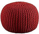 Pouf rotondo - D-50 x H-35 cm - Colore rosso - Pouf decorativo per la camera dei bambini - Sgabello decorativo in corda per la casa e l'arredamento