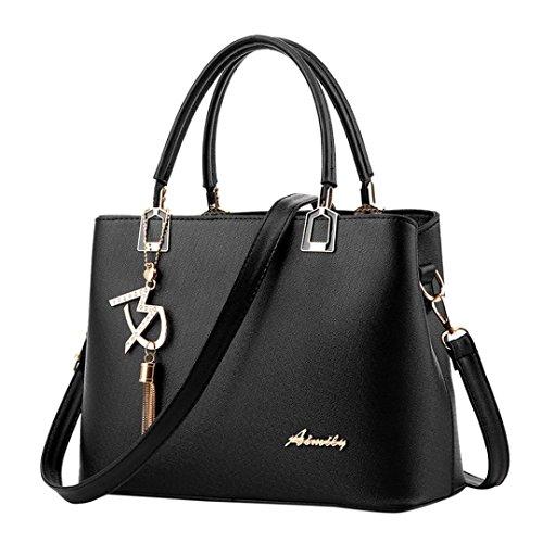 VJGOAL Damen Schultertasche, Frau oder Mutter Geschenk Damenmode luxuriöse Leder Crossbody Schulter Messenger Party Bag Handtasche (29*13*21cm, Schwarz)