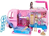 Barbie FBR34 ESTATE Dream Camper Pink Pop Out Caravan for Dolls, Accessories Included, Playset Vehicle