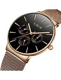 e95a08975f95 Relojes para Hombres Acero Inoxidable Impermeable Deportes Reloj Analógico  de Cuarzo para Hombre Marca de Lujo