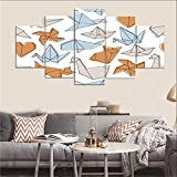 DOORWD Leinwanddruck Wandbilder Home Dekorativ 5-teilig Großplakat Muster-Origami 30x40cmx2 30x60cmx2 30x80cmx1 Kein Rahmen
