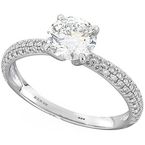 925 Sterling Silver Ladies Dazzling Round-Cut Cz Wedding Engagement Ring