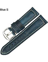922675454613 Accesorios para Relojes Moda Correa Azul 20Mm 22Mm 24Mm 26Mm Cuello de  Cuero de Cuero de Cera de Aceite Vintage para Reloj Fossil…