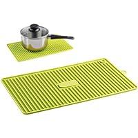 KiGoing Cojín de Drenaje de la Cocina de la Estera del Aislamiento de Calor con el Gancho Cuadrado Vajilla Verde Poste de Cocina Plato Pot Plate