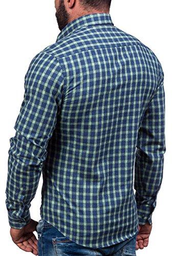 BOLF Kurzarm Herrenhemd Hemd Herren Kariert Figurbetont Freizeit Slim Fit 6913 Grün