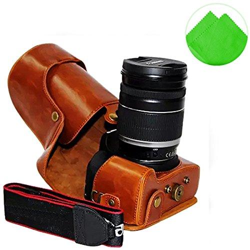 nzkörper- präzise Passform PU-Leder Kameratasche Fall Tasche Cover für Canon 700D 650D 600D Rebel T5i T4i T3i 18-55mm 18-135mm 18-200mm Lens mit Reinigungstuch ()