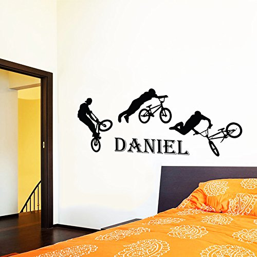unge Persönlich Name BMX Radfahrer Fahrrad Wandtattoo Monogramm mit Namen Kinder Geschenk Jungen Kinderzimmer Vinyl Aufkleber Wandsticker Fototapete Dekoration für Zuhause Schlafzimmer (Monogramm-aufkleber)