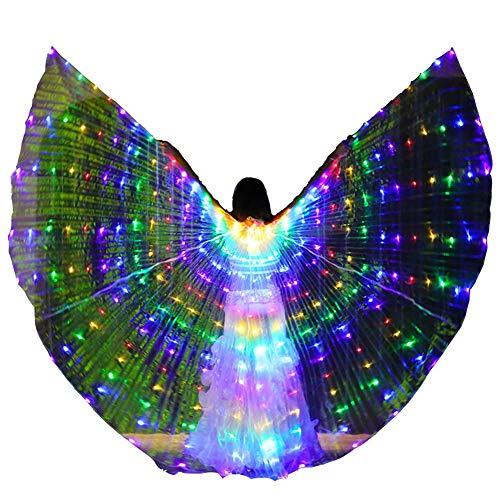 Transparent Bunt LED Flügel Leuchtendes Kostüm Bauchtanz Isis Wing Luminous Performance Requisiten mit - Bauchtänzerinnen Kostüm Kinder