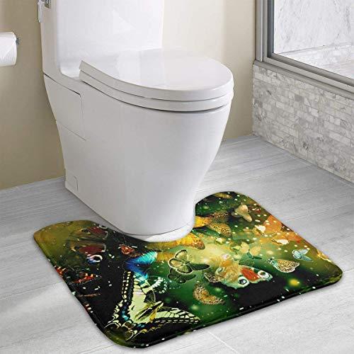 Uosliks Bath Mat Non Slip Absorbent Super Cozy Coral Velvet Bathroom Rug Toilet Carpet (15.74