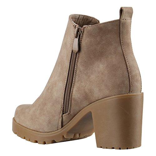Stiefelparadies Damen Stiefeletten Wildleder-Optik Glitzer Chelsea Boots Animal Prints Profilsohle Knöchelhohe Stiefel Flandell Khaki Khaki Glatt
