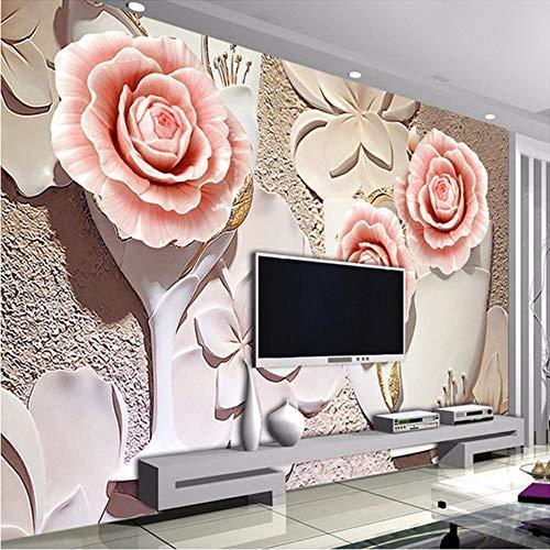 3D Wandbild Individuelle Fototapeten Modernen Minimalistischen 3D Geprägte Rose Blume Wohnzimmer Tv Hintergrund Wandbild Malerei Tapetenwände-450X300cm 6280 Stereo