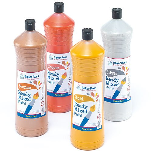 ready-mixed-metallic-paint-silver-600ml-water-based-paint-for-childrens-painting-crafts