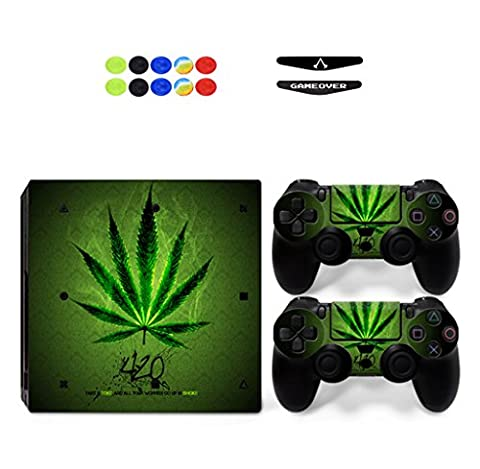Skin for PS4 PRO, Chickwin Skin Vinyl Autocollant Sticker Decal pour Playstation 4 Pro console and 2 Dualshock Manette Set + 10pc Thumb Grips + 2pc Light Bar au hasard (Feuille Vert)