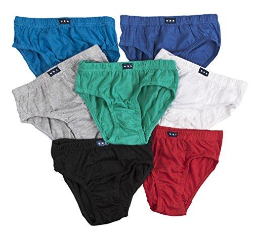 New Kids Mädchen Jungen 7Paar Pack 100% Baumwolle Slip Kinder Unterwäsche Größe 2–8Jahren Gr. 5-6 Jahre, Boys - Grey, Red, Green