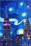 Posterlounge Acrylglasbild 40 x 60 cm: Sternennacht in New York - Van Gogh Inspirationen in Manhattan von M. Bleichner - Wandbild, Acryl Glasbild, Druck auf Acryl Glas Bild