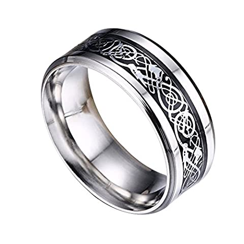 Contever® Stainless Steel Dragon Pattern Beveled Edges Celtic Rings Band Jewelry Comfort Fit Men For Anniversary/Engagement/Wedding Band - Size 8#