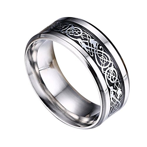 Contever® Stainless Steel Dragon Pattern Beveled Edges Celtic Rings Band Jewelry Comfort Fit Men For Anniversary/Engagement/Wedding Band - Size 12#