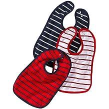 Baby de babero con botón de presión | größenverstellbarer y resistente Klecker de protección, en el juego de 3| de algodón 100% | Klassisch rayas en color azul marino, rojo y blanco