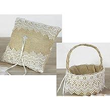 Juego cojín alianzas y cesta arras o pétalos, burlap con puntilla y detalles ...