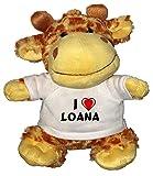 Peluche girafe avec un T-shirt J'aime Loana (Noms/Prénoms)