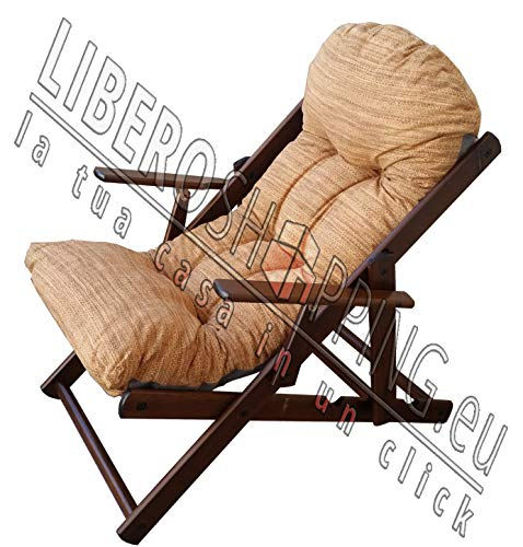 Liberoshopping Fauteuil de Jardin en Bois Pliante 3 Positions Coussin Super rembourré Luxe Couleur Ivoire