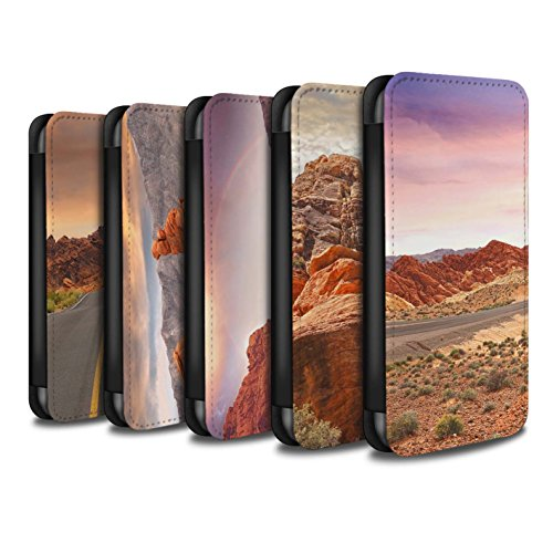 Stuff4 Coque/Etui/Housse Cuir PU Case/Cover pour Apple iPhone 7 Plus / Montagnes Design / État du Nevada Collection Pack 6pcs