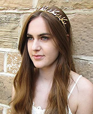 Gold Antler Headband Vintage Game of Thrones Woodland Bridal Medieval Hair Q44 *EXCLUSIVELY SOLD BY STARCROSSED BEAUTY*